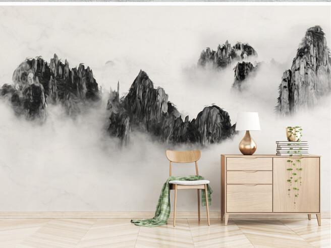 Фотообои Черные горы в тумане