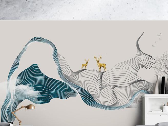 Золотые олени на текстурных полосках