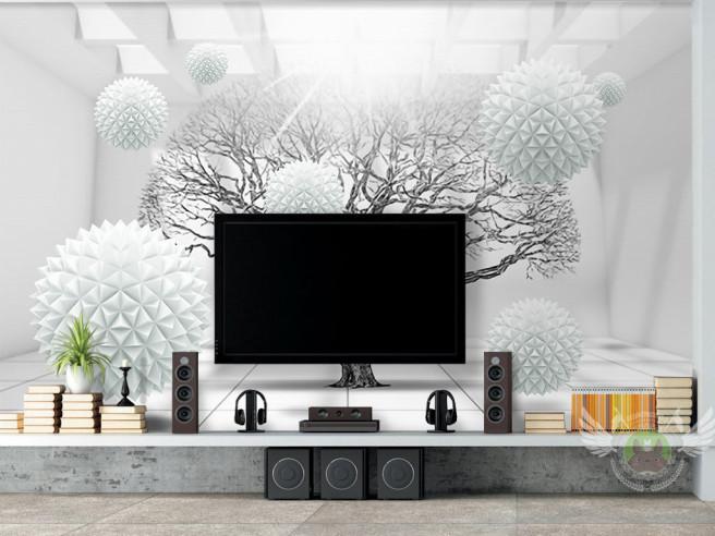 Фотообои Дерево с белыми шарами