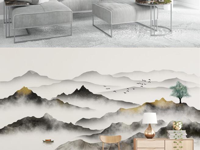 Бежевые горы в тумане