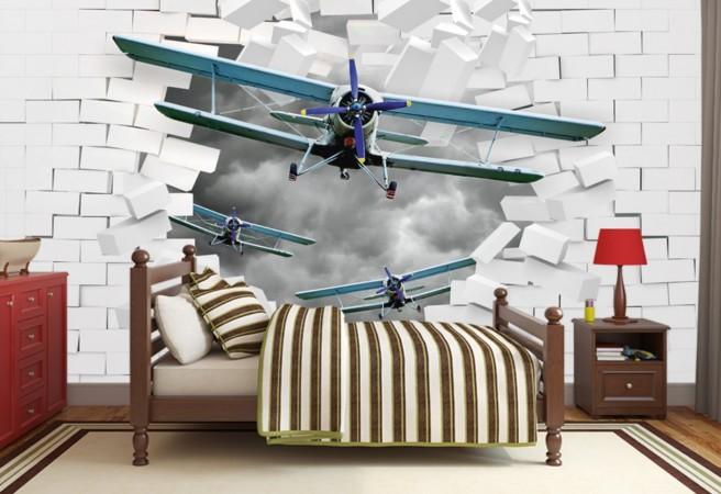 Фотообои самолеты в стене