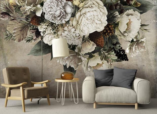 Букет цветов на бетонной стене