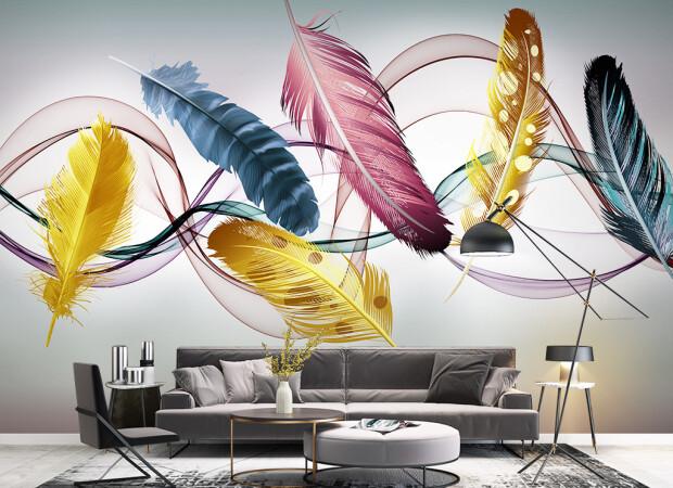 Разноцветные перья и ленты