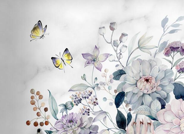 Бабочки над пионами