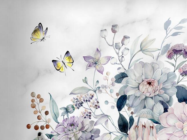 Фотообои Бабочки над пионами