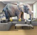 Фотообои слон в гостинной