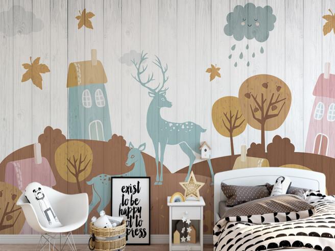 Два оленя на деревянном фоне