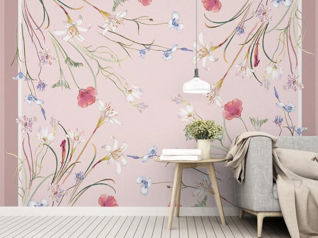 Фотообои Полевые цветы на розовом фоне