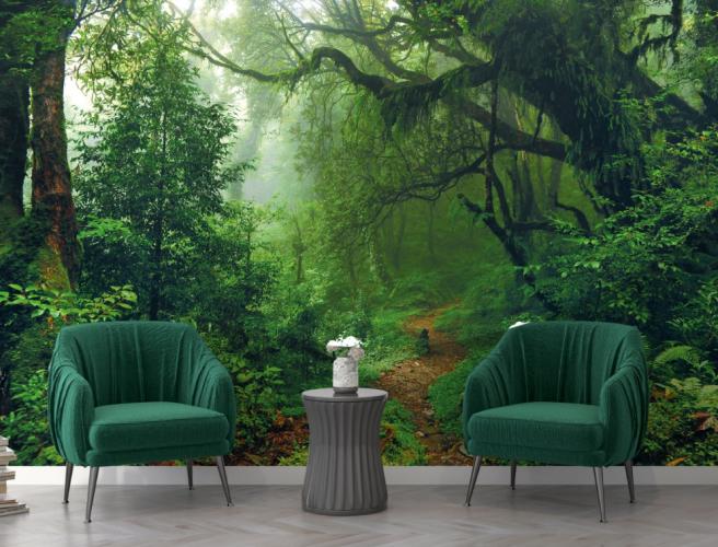 Фотообои тропинка в зеленом лесу
