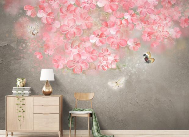 Волшебные розовые цветы