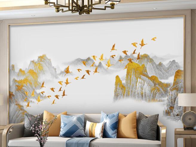 Фотообои Золотые птицы над вершинами